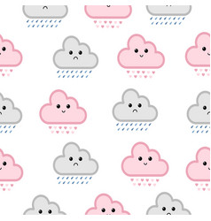 cute clouds seamless pattern vector image