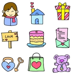 Cute object love theme of doodles vector