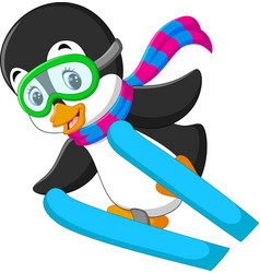 Cute penguin skiing cartoon vector