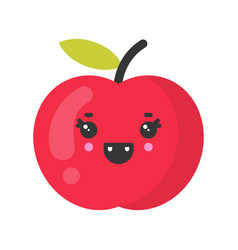 Cute smiling apple isolated colorful fruit vector