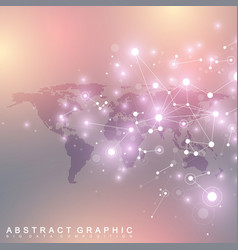 Dotted world map with global technology networking vector