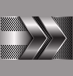 Double silver arrow direction on circle mesh vector
