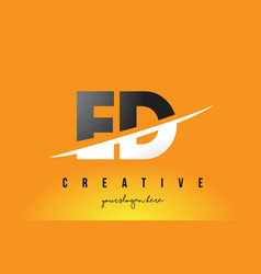 Ed e d letter modern logo design with yellow vector
