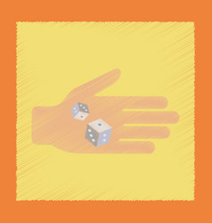 Flat shading style icon dices in hand vector