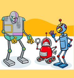 funny robots cartoon characters group vector image