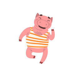 funny smiling male pig cartoon character vector image