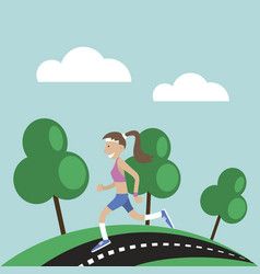 Girl jogging nature vector