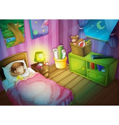 girl sleepin in bedroom at night vector image