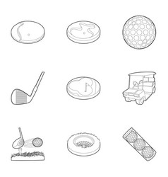 golf accessory icons set outline style vector image