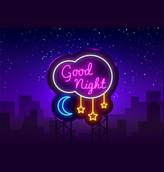 Good night neon sign good night neon text vector