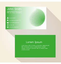 Green abstract sphere from dots business card vector