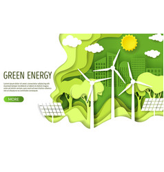 green energy web banner template paper cut vector image