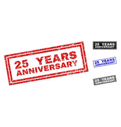 grunge 25 years anniversary textured rectangle vector image