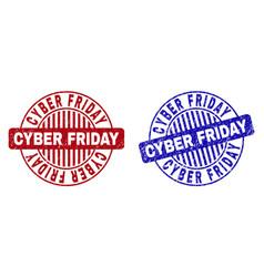 grunge cyber friday textured round stamp seals vector image