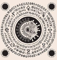 hand-drawn banner with cells coronavirus vector image
