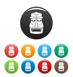 hawaii wood tiki idol icons set color vector image