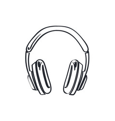 headphones headset with music playing loud sketch vector image