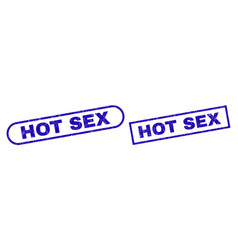 Hot sex blue rectangle stamp with unclean surface vector