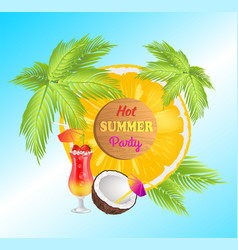hot summer party announcement banner with palms vector image