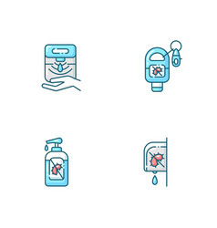Hygienic hand sanitizers blue rgb color icons set vector