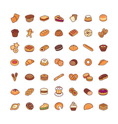Icons bakery vector