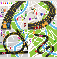 infographics a set of stylized road plans maps vector image