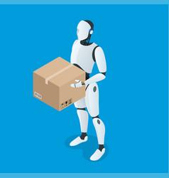 Isometric autonomous delivery robot flat vector