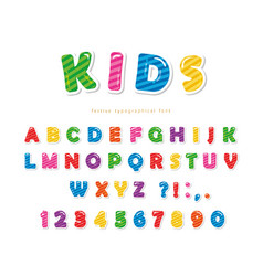 Kids font cartoon glossy colorful letters and vector