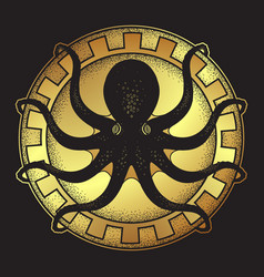 kraken on shield hand drawn black and gold vector image