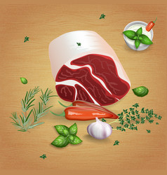 Lamb roll with tasty sauces and spices vector