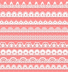 Large set of openwork lace borders for your design vector