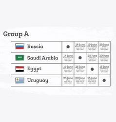 Match schedule group a vector