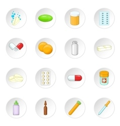 Medicine drugs icons set vector image