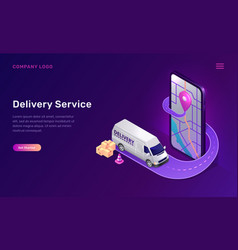 mobile delivery service online app isometric vector image