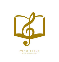 music logo treble clef and book vector image
