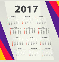 new year 2017 calendar design template with vector image