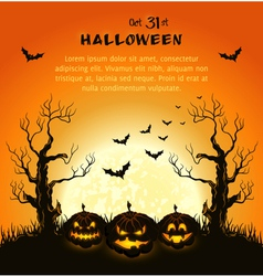 Oran halloween background with pumpkins full moon vector