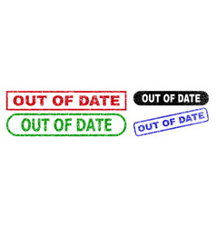 Out date rectangle stamps with grunge style vector