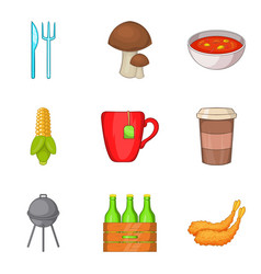 outdoor barbecue fried icons set cartoon style vector image
