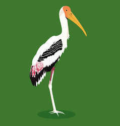 Painted stork cartoon bird vector