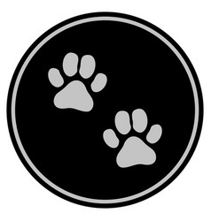 Paw footprints black coin vector