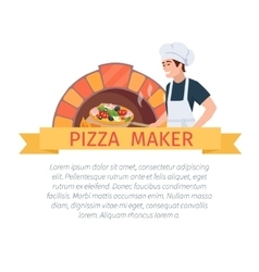Pizza maker label vector