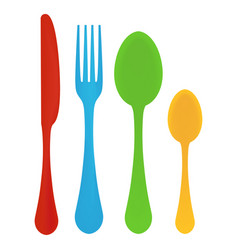 Plastic cutlery children s vector
