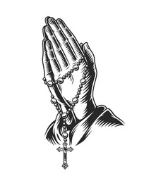 Praying hands holding rosary beads vector
