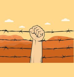 protest sign with hand fist and barbed wire as vector image