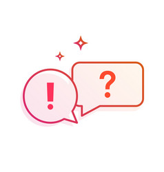 Question and answer speech bubbles icon gradient vector