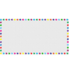Rectangle frame made of multicolored animal paw vector
