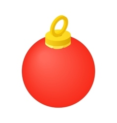 Red christmas ball isometric icon vector image