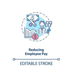 Reducing employee pay concept icon vector