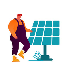 Renewable green energy concept man in working vector